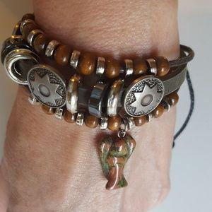 Jewelry - Leather adjustable bracelet with stone angel